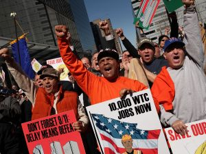 Construction workers hold a rally in New York City.