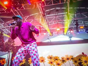 Tyler, The Creator had a floral set to coorespond with his new album, Flower Boy.