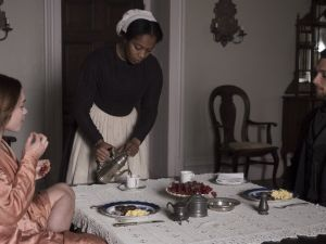 Florence Pugh, Naomi Ackie and Cosmo Jarvis in Lady Macbeth