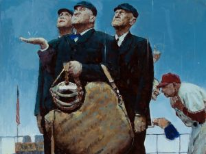 "1948 Original Study for ""Tough Call"" by Norman Rockwell. The work was gifted to Umpire ""Beans"" Reardon."
