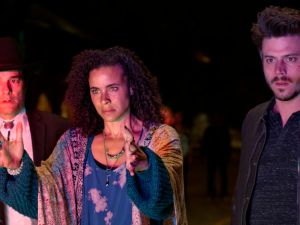 Yul Vázquez as Rev. Emilio Sheehan, Parisa Fitz-Henley as Fiji, Francois Arnaud as Manfred in Midnight, Texas.