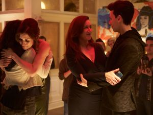 Tatiana Maslany, Lauren Hammersley, Maria Doyle Kennedy, and Jordan Gavaris in Orphan Black.