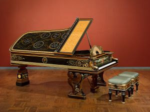 Sir Lawrence Alma-Tadema, designer; Johnstone, Norman & Co., London, manufacturers; Model D Pianoforte and Stools, 1884–87.