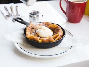Joe Miller's Dutch baby cakes come in a cast-iron skillet.