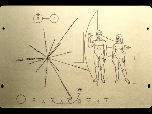 A recreation of the Pioneer 10 Plaque.