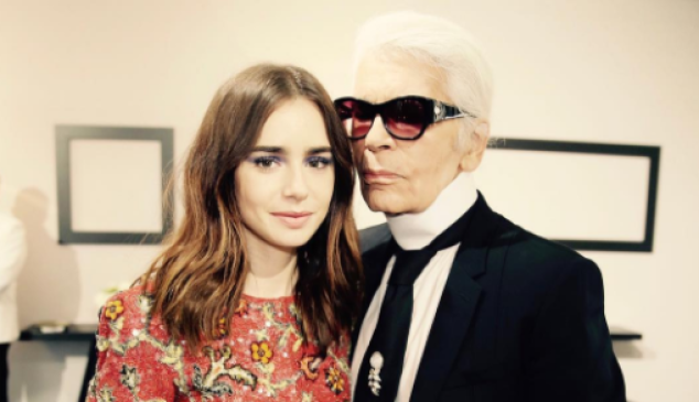 Lily Collins and Karl Lagerfeld.