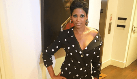 Tamron Hall in a polka-dot Monse suit.