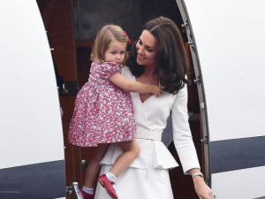 Kate Middleton and Princess Charlotte in coordinating outfits.