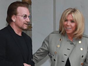 Bono and Brigitte Macron.