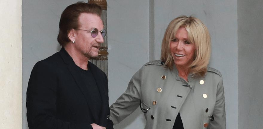 Brigitte Macron Wore Her Best Rocker Chic Outfit to Meet Bono