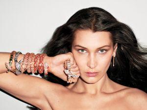 Bella Hadid wrapped up in Bulgari Jewels.