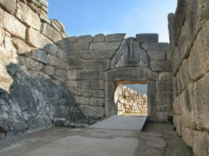 The Lion Gate at Mycenae, which dates to Bronze Age Greece.