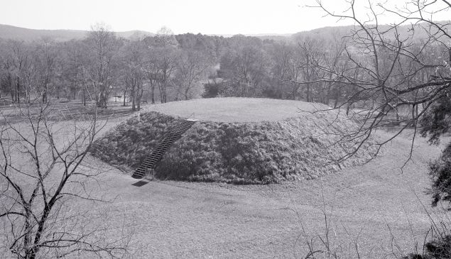 Mound B from Atop Mound A (Great Temple Mound), Etowah Mounds, Near Cartersville, Georgiaca. 1250 CEThis black and white photograph by Tom Pattonshows one of many large Mississippian period mound centers that dotted the landscape of eastern North America before European contact.