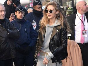 Gigi Hadid in a Nour Hammour jacket arriving at the Victoria's Secret Fashion Show in Paris.