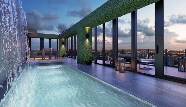 The rooftop pool deck takes up the third level of the home.