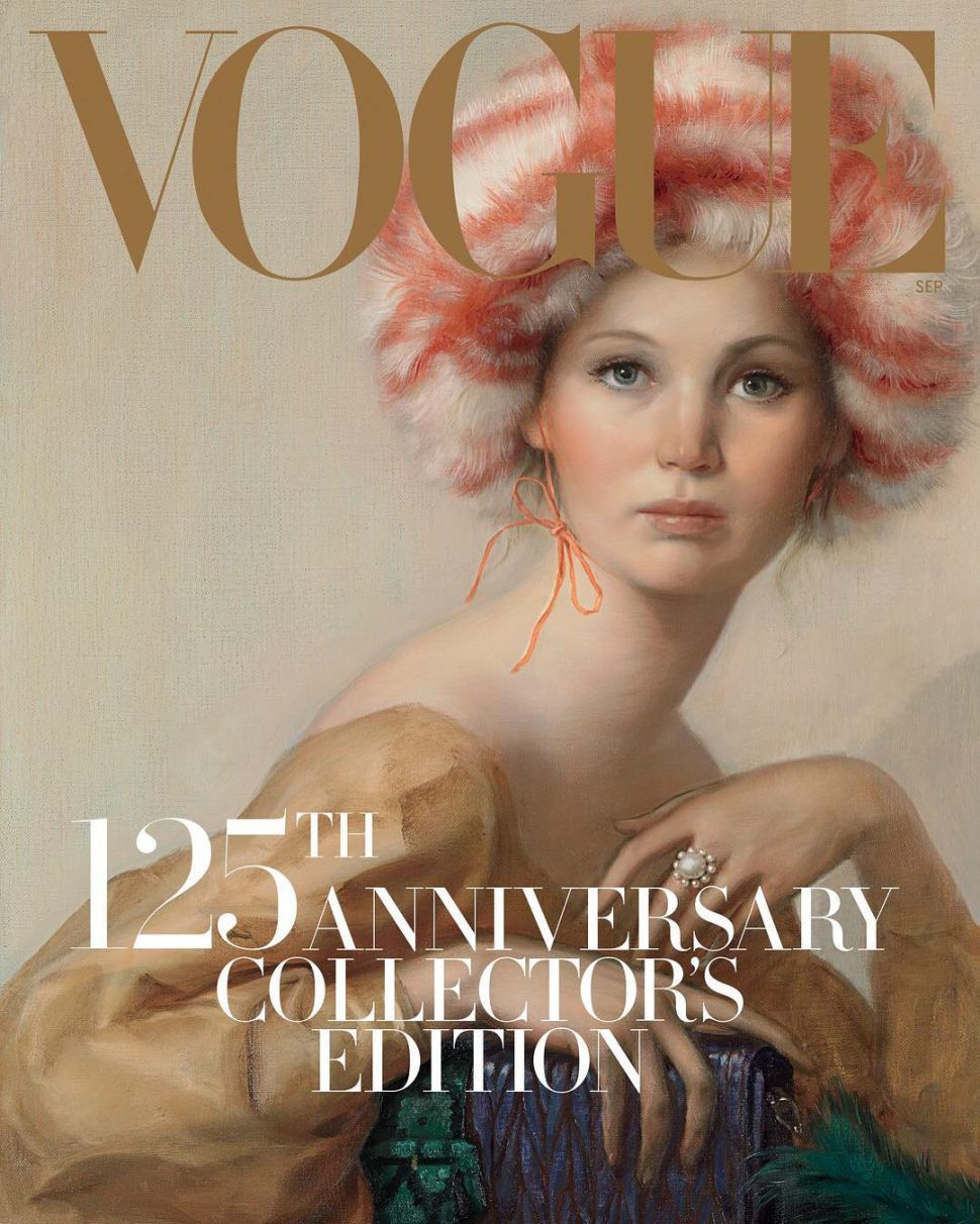 John Currin Paints Jennifer Lawrence for Vogue September Issue