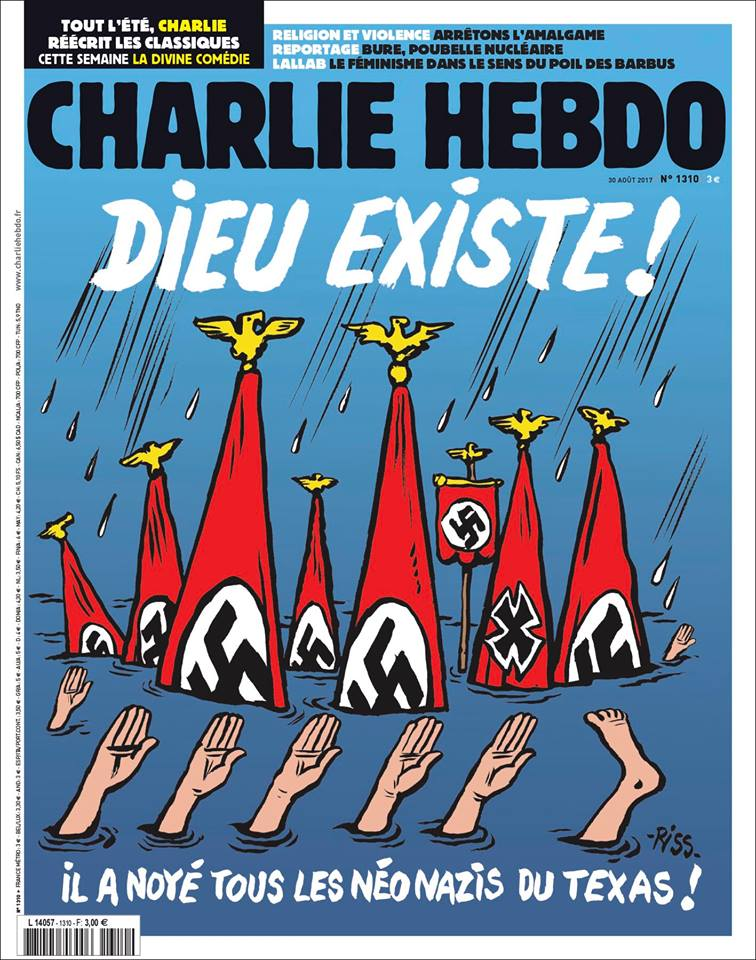 Charlie Hebdo Publishes Cover Claiming God Sent Hurricane Harvey to Kill Neo-Nazis