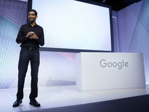 Sundar Pichai at a Google media event.