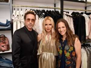 Robert Downey Jr., Rachel Zoe and Susan Downey attend the Rachel Zoe x What Goes Around Comes Around pop-up in East Hampton, New York.