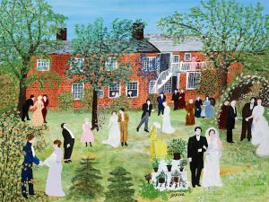 "Anna Mary Robertson ""Grandma"" Moses (1860-1961), A Country Wedding, 1951. Oil on pressed board, 22 x 27 in."