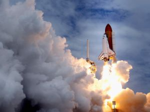 Space shuttle Atlantis blasts off from launch pad 39A at Kennedy Space Center. (Photo by Chip Somodevilla/Getty Images)