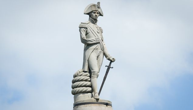 The statue of Lord Nelson, on the top of Nelson's Column in Trafalgar Square in London.