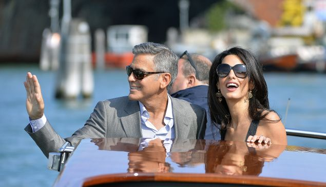 George and Amal Clooney before their glamorous wedding in Venice.