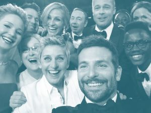 Ellen DeGeneres poses for a selfie taken by Bradley Cooper with (clockwise from L-R) Jared Leto, Jennifer Lawrence, Channing Tatum, Meryl Streep, Julia Roberts, Kevin Spacey, Brad Pitt, Lupita Nyong'o, Angelina Jolie, Peter Nyong'o Jr. and Bradley Cooper during the 86th Annual Academy Awards.