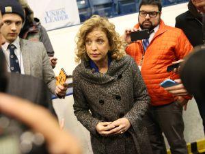 Congresswoman Debbie Wasserman Schultz speaks to reporters.