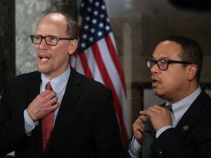DNC Chair Tom Perez and Deputy Chair Keith Ellison.