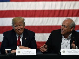 Dennis Williams, United Auto Workers President, and President Donald Trump deliver remarks on March 15, 2017.