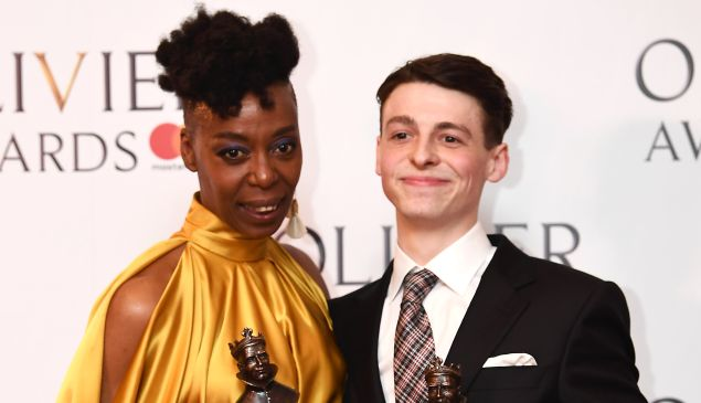 Noma Dumezweni, winner of Best Actress in Supporting Role for 'Harry Potter And The Cursed Child' and Anthony Boyle, winner of the Best Actor in a Supporting Role award for 'Harry Potter And The Cursed' pose with their awards during the 2017 Laurence Olivier Awards in London on April 9, 2017. / AFP PHOTO / Justin TALLIS (Photo credit should read )