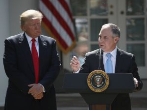 EPA Administrator Scott Pruitt speaks after President Donald Trump announced his decision to pull the United States out of the Paris climate agreement at the White House on June 1, 2017.