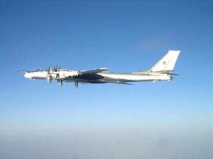 Russian Tu-95 Bear long range bomber aircraft.