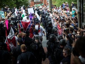 Members of the Ku Klux Klan at a rally on July 8, 2017 in Charlottesville, Va.