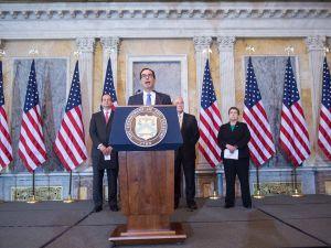 US Treasury Secretary Steven Mnuchin speaks during a press conference in Washington, DC, on July 13, 2017.