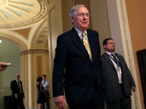 Senate Majority Leader Mitch McConnell (R-KY) walks to a meeting in the U.S. Capitol July 25, 2017 in Washington, DC.