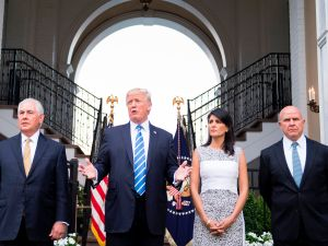 President Donald Trump with Secretary of State Rex Tillerson, Ambassador to the United Nations Nikki Haley, and National Security Advisor H. R. McMaster on August 11, 2017.