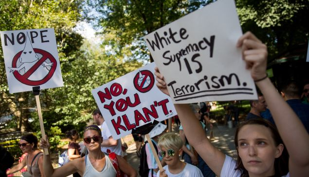 Protestors rally against white supremacy and racism in New York City's Columbus Circle.