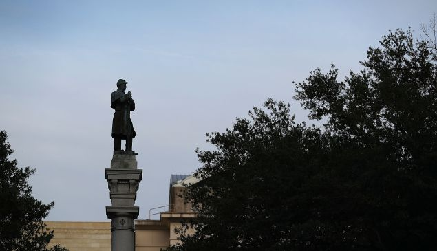 A monument featuring a statue of a Confederate soldier is seen in Hemming Park in the midst of a national controversy over whether Confederate symbols should be removed from public display on August 20, 2017 in Jacksonville, Florida.
