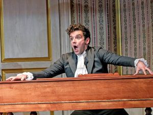Michael Urie with Talene Monahon in The Government Inspector.