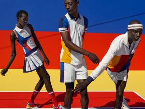 Colorblocking is huge in Pharrell Williams' first tennis collection for Adidas.