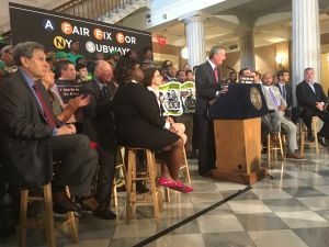 Mayor Bill de Blasio announced a millionaires tax to fix the subway and fund fares for low-income New Yorkers.