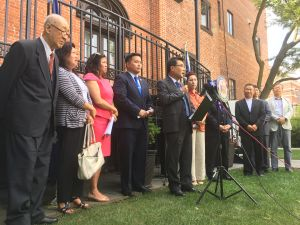 Queens Congresswoman Grace Meng, Queens Assemblyman Ron Kim and community leaders blast President Trump's handling of North Korean conflict.