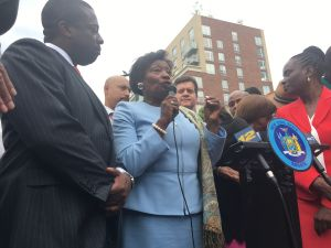 Senate Democratic Leader Andrea Stewart-Cousins speaking at a rally in support of her leadership in Harlem.