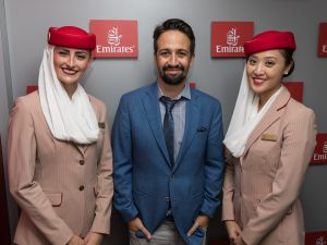 Lin-Manuel Miranda spent opening night in the Emirates Suite.