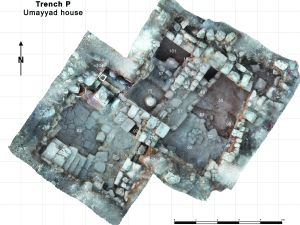 Photogrammetric composite image of the 'House of the Scroll', trench P. The numbers relate to different archaeological features.