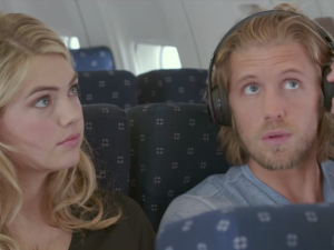A still from The Layover with Kate Upton and Matt Barr.