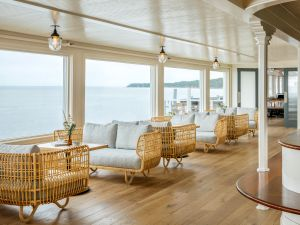 Relax in the lobby with ocean views.