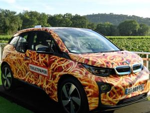 BMW i3 Spaghetti Car by artist Maurizio Cattelan sold for $117,562 at Leonardo DiCaprio's annual St. Tropez charity auction.